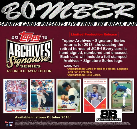 2018 Topps Archives Signature Series Retired Player Edition 20 Box Case Break - Random Division #5 - 10/21/18