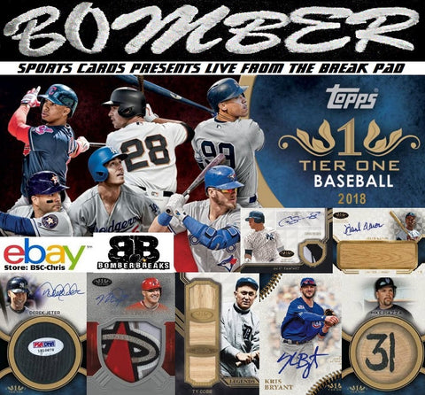 2018 Topps Tier One Baseball 6 Box Half Case Break [1st Half] (eBay Store BSC-Chris Team Auctions*) Ending WEDNESDAY @7:30pm ET- Live 5/23/18