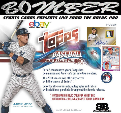 2018 Topps Series 1 Baseball Hobby 6 Box 1/2 Case Break [2nd Half] - (eBay Store BSC-Chris Team Auctions*) - Ending SUNDAY @7:00pm ET - 2/18/18