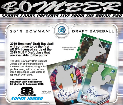 SUNDAY 2019 Bowman Draft Baseball Super Jumbo 6 Box Case Break - Random Tiered Team #3 - Live 12/8/19