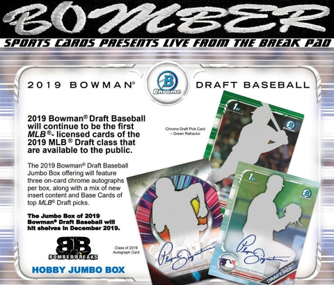SUNDAY 2019 Bowman Draft Baseball Jumbo 8 Box Case Break - Random Team #1 - Live 12/8/19 (19 left)