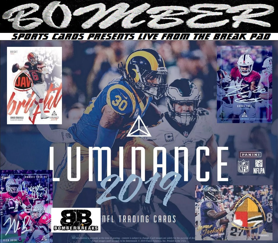 SUNDAY NIGHT 2019 Panini Luminance Football 12 Box Case Break - Random Team #1 - Live 6/16/19