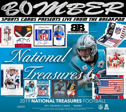 THURSDAY NIGHT - 2019 Panini National Treasures Football 2 Box Half Case Break - Random Team #2 - Live 4/2/20