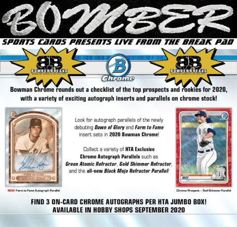 SUNDAY NIGHT - (TRANSCENDENT PROMO 3X) - 2020 Bowman Chrome Baseball HTA Choice 6 Box Half Case Break - Random Team #10 - Live 1/17/21
