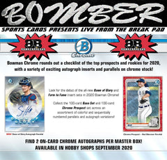 1:35 EST - FRIDAY AFTERNOON - 2020 Bowman Chrome Baseball Hobby 12 Box Case Break - Pick Your Team #1 - Live 9/18/20 (5 left)