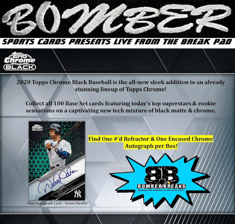 SUNDAY NIGHT - 2020 Topps Chrome Black Baseball 6 Box Half Case Break - Random Team #10 - Live 4/25/21