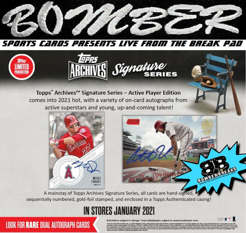 (TRANSCENDENT PROMO 2X) - 2021 Topps Archives Signature Series Baseball- Active Player Edition - 20 Box Case Break - Random Team #1 - Live 1/20/21