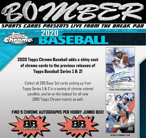 SUNDAY NIGHT - 2020 Topps Chrome Jumbo Baseball 4 Box Half Case Break - Random Team #2 - Live 8/9/20 (7 left)