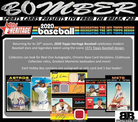 THURSDAY AFTERNOON TBA 2020 Topps Heritage Baseball 12 Box Case Break - Pick Your Team #3 - Live 2/27/20