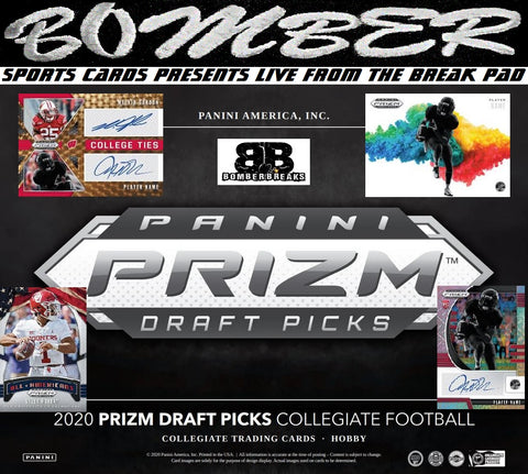 THURSDAY NIGHT - 2020 Panini Prizm Collegiate Draft Picks Football 8 Box Half Case Break - Random College #1 (2 Per Spot) - Live 4/2/20