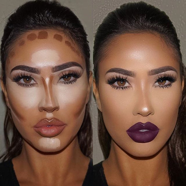 Highlight and contour before and after