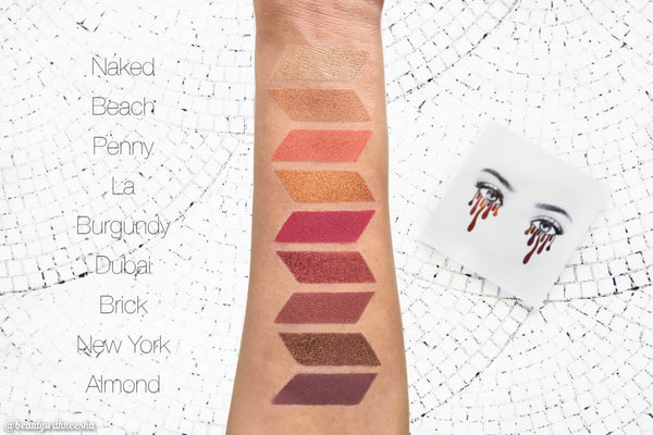 The Burgundy Palette eyeshadow swatches on hand