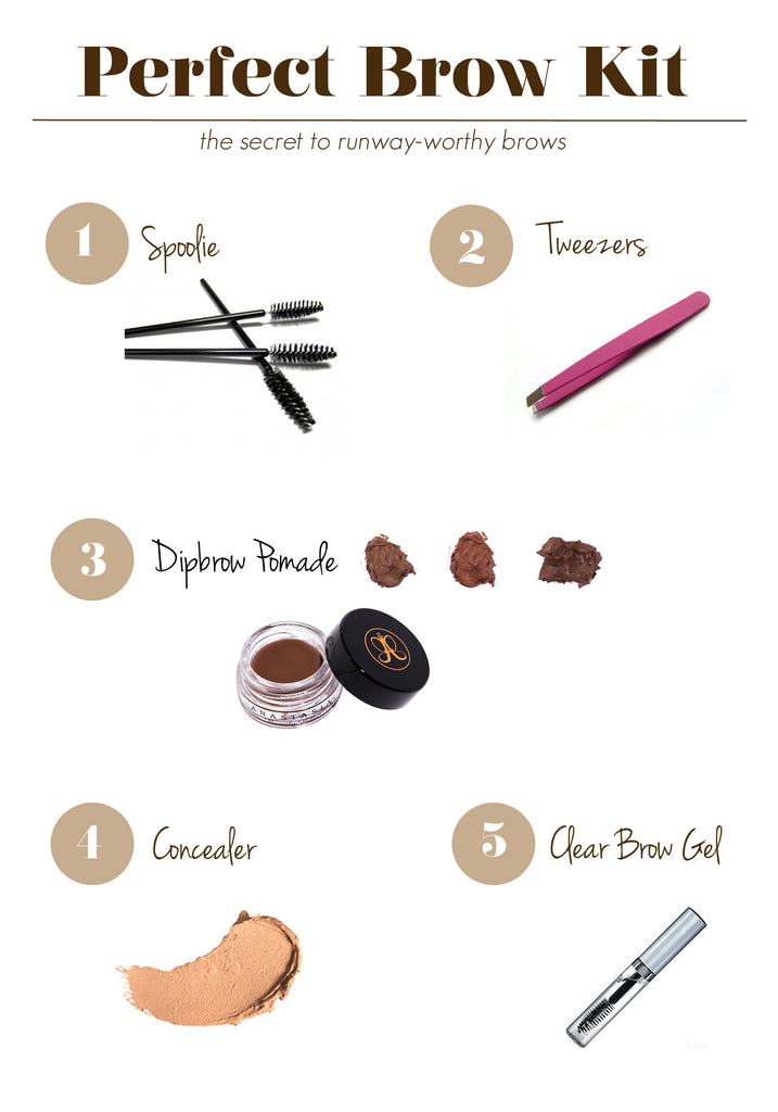 This is a picture cover for a blog post to show five essentials to add in the perfect eyebrow kit.
