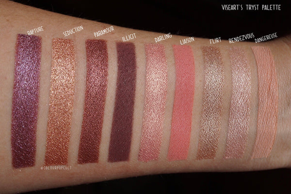 Tryst palette swatches by Our Beauty Cult