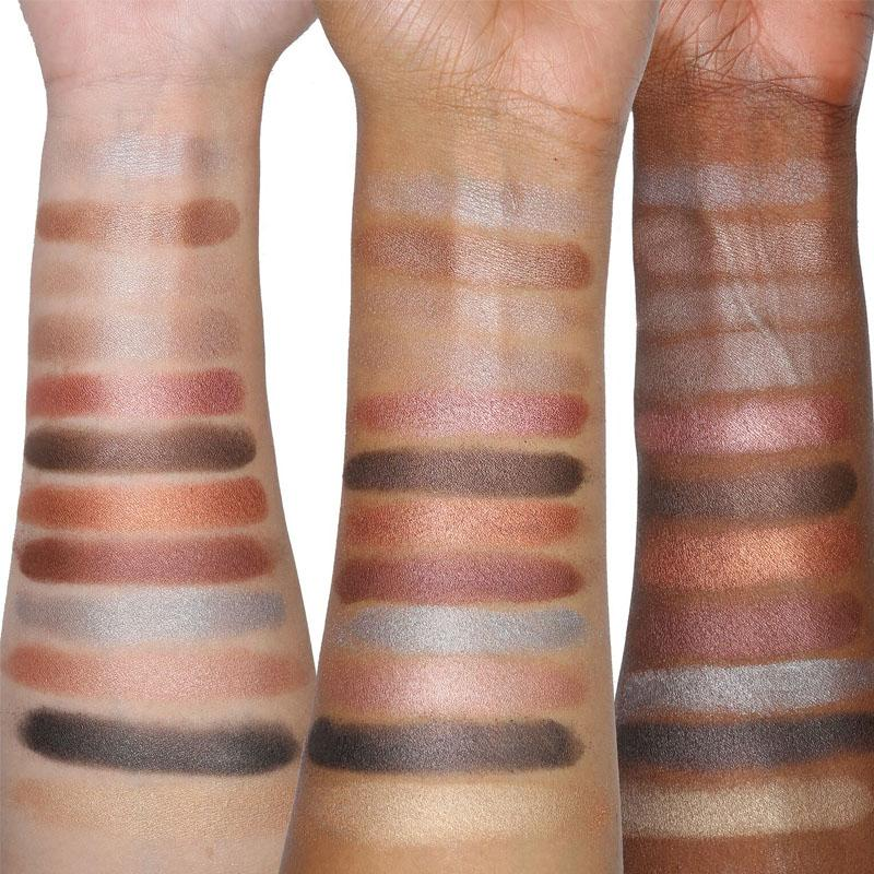 Viseart Sultry Muse Palette swatches on light, medium, and dark skin