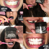 Before and after using Grounded Body Scrub UK Activated Charcoal Teeth Whitening Powder