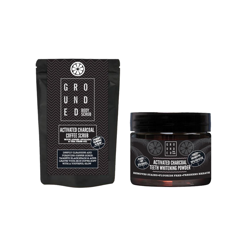 Activated Charcoal Blackhead Removing Face Scrub + Activated Charcoal Teeth Whitening Powder