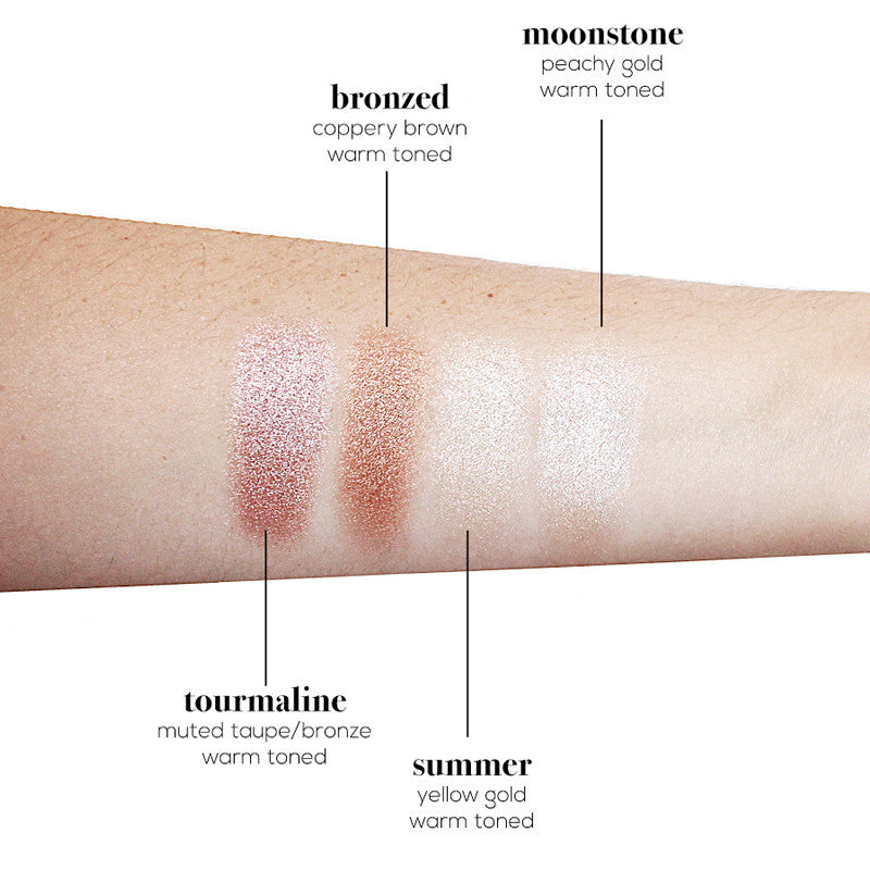 Sun Dipped Glow Kit swatches on fair skin