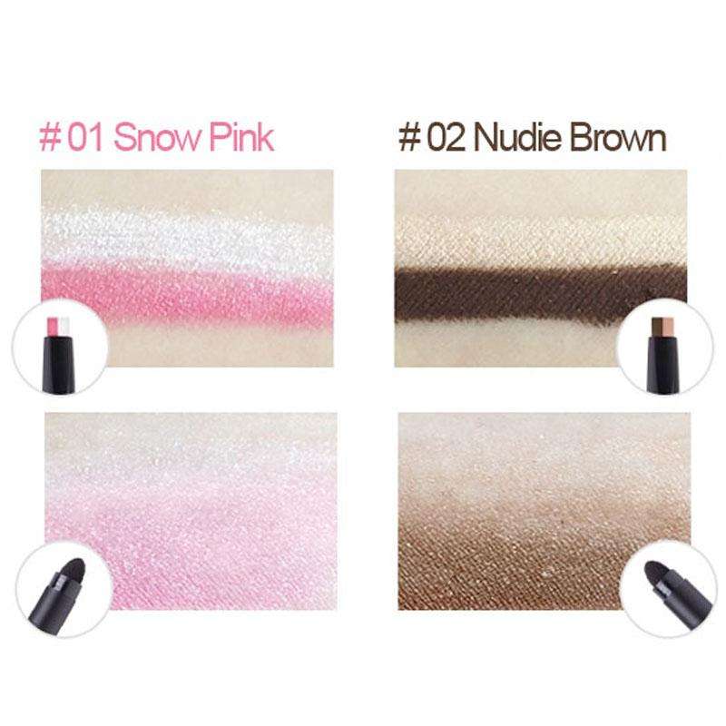The Yeon Easy Gra-Shadow stick Snow Pink and Nudie Brown swatches
