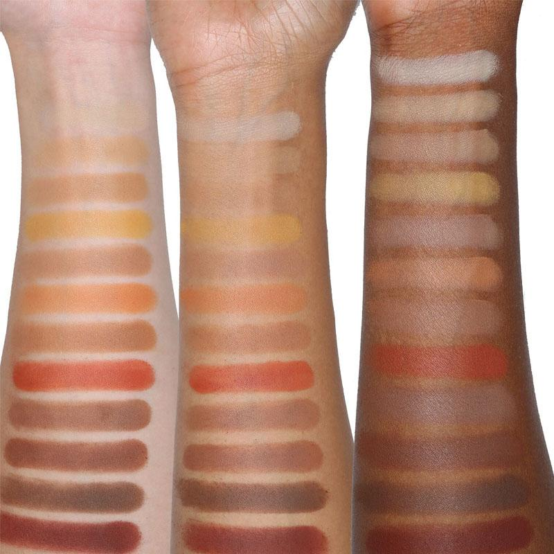 Viseart Warm Mattes palette swatches on all skin tones