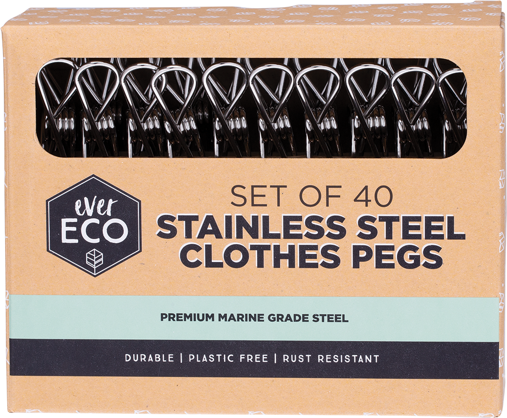 Stainless Steel Clothes Pegs - 40 pack