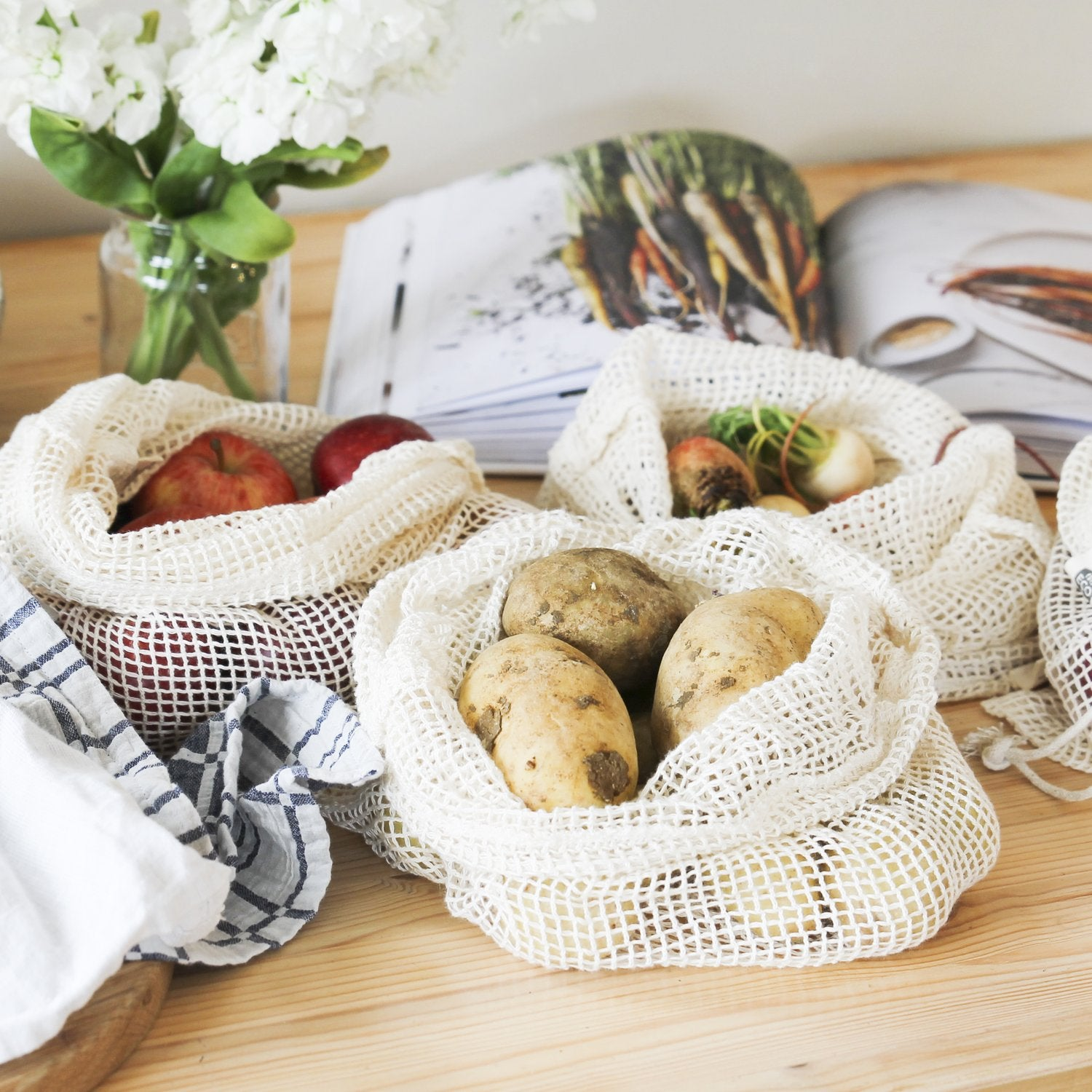 Reuseable Produce Bags Organic Cotton Net