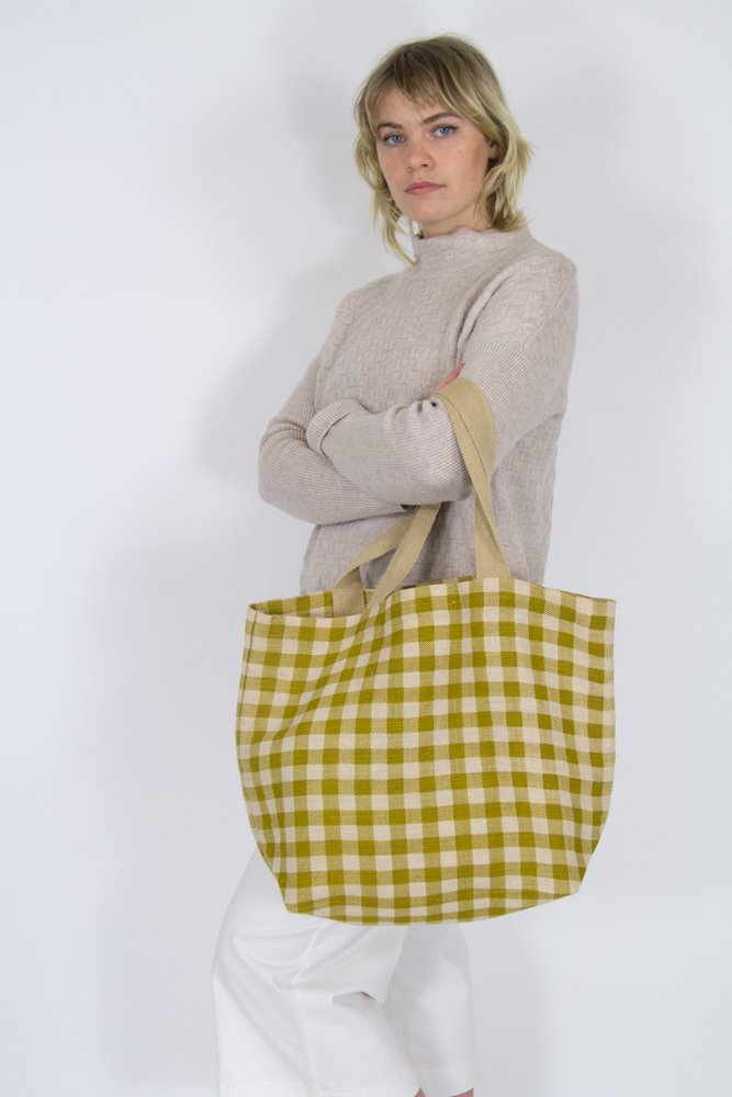 Gingham Tote Olive