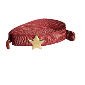 BRACCIALE BORDEAUX TWEED STELLA DORATA