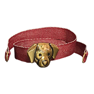 BRACCIALE BORDEAUX TWEED CANE DORATO