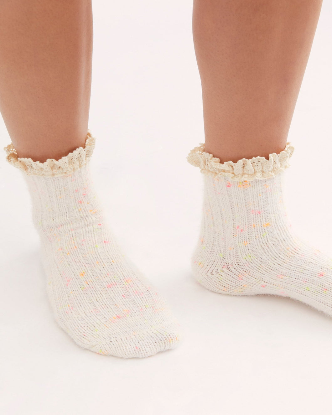 Firecracker Flecked Ruffle Sock