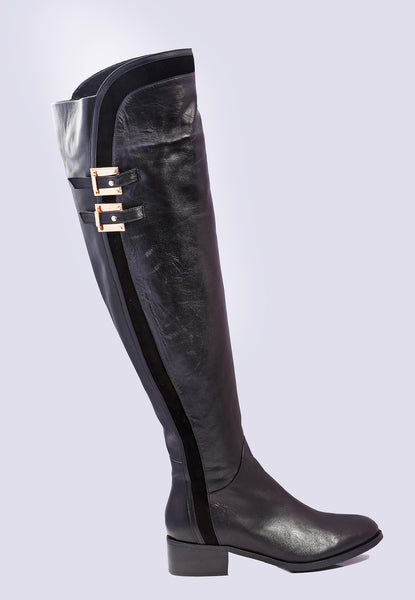 SMOOTH LEATHER THIGH HIGH BOOTS