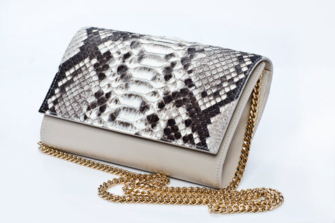 Emma Handmade Python Leather Clutch