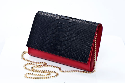 Scarlett Handmade Python Leather Clutch