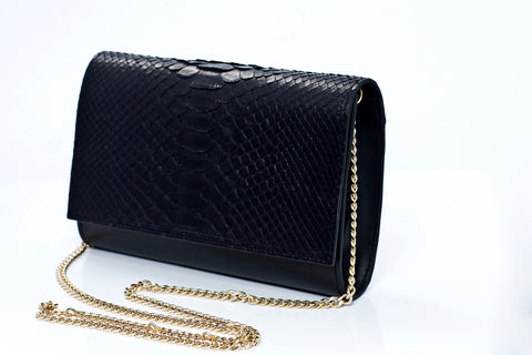Sophia Handmade Python Leather Clutch