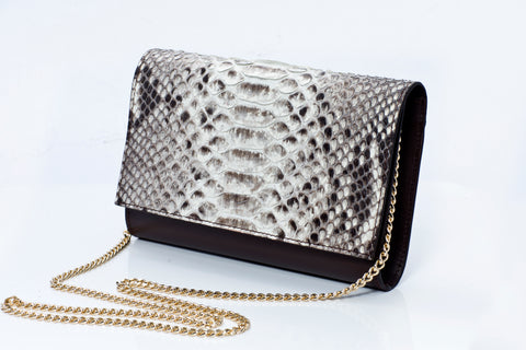Charlotte Handmade Python Leather Clutch