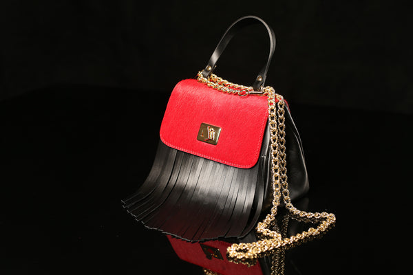Pony Hair Red & Black Bag with Fringe