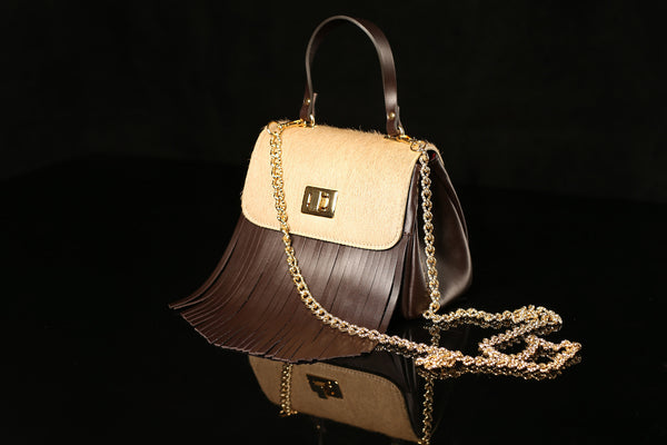- SOLD OUT Pony Hair Brown & Beige Bag with Fringe-