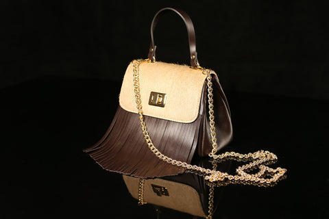 Pony Hair Brown & Beige Bag with Fringe