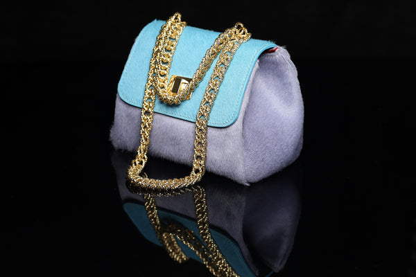 Pony Hair Bicolor Violet & Turquoise Bag