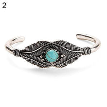 Load image into Gallery viewer, Retro Women Bead Leaf Feather Alloy Open End Cuff Bangle Boho Ethnic Jewelry