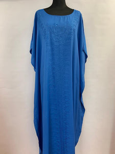 Didi plain embroidered kaftan- electric blue/kaftans/kaftans for woman freeshipping - herfreespirit