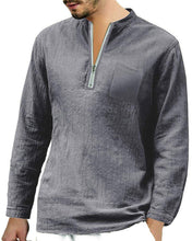 Load image into Gallery viewer, Mens Long Sleeve Henley Shirt Cotton Linen Beach Yoga Loose Fit Henleys Tops