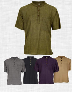 NEW IN/Grandad shirt/Short sleeve/Express delivery freeshipping - herfreespirit