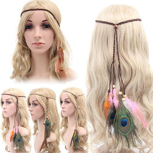 Women Boho Style Festival Feather Headband Hippie Weave Hairband Hair Accessory freeshipping - herfreespirit