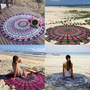 Boho Ethnic Large Round Tapestry Shawl Wall Hanging Beach Throw Yoga Mat Towel freeshipping - herfreespirit