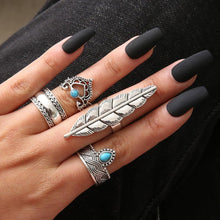 Load image into Gallery viewer, 4Pcs/Set Boho Faux Turquoise Crown Leave Water Knuckle Midi Finger Ring Jewelry