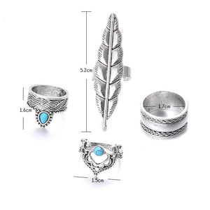 4Pcs/Set Boho Faux Turquoise Crown Leave Water Knuckle Midi Finger Ring Jewelry
