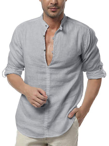 Mens Long Sleeve Henley Shirt Cotton Linen Beach Yoga Loose Fit Henleys Tops