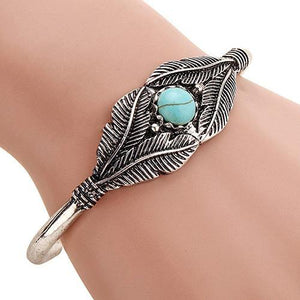 Retro Women Bead Leaf Feather Alloy Open End Cuff Bangle Boho Ethnic Jewelry