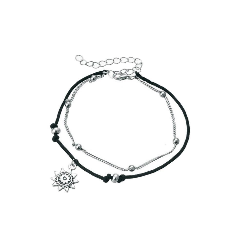 Boho Double Layer Anklet Sun Pendent Charm Women Foot Chain Ankle Bracelet freeshipping - herfreespirit
